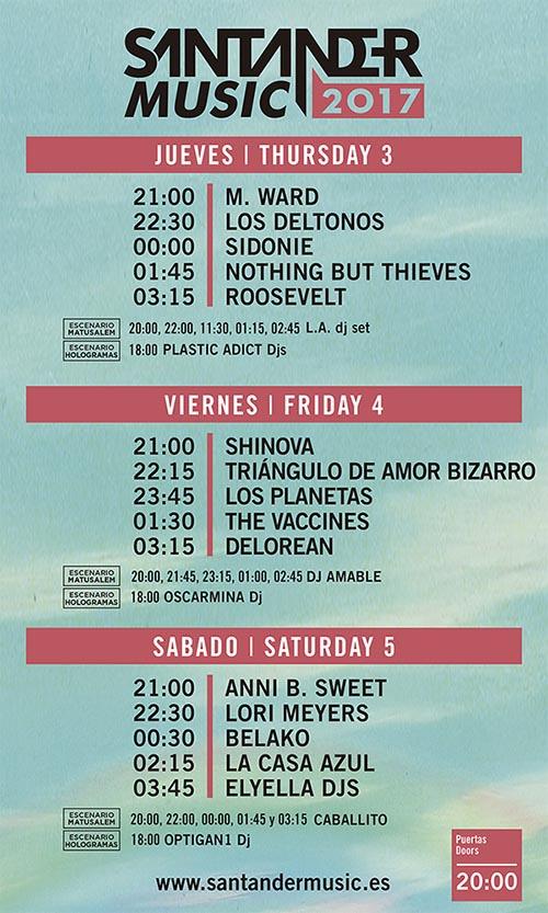 Horarios Santander Music Festival 2017_NRFmagazine